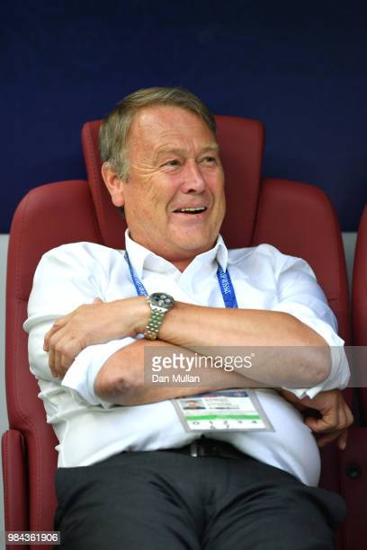 Age Hareide Manager of Denmark smiles prior to the 2018 FIFA World Cup Russia group C match between Denmark and France at Luzhniki Stadium on June 26...