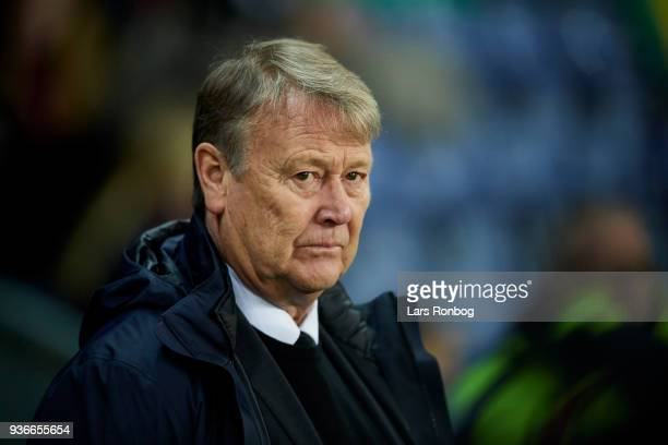 Age Hareide of Denmark looks on prior to the International friendly match between Denmark and Panama at Brondby Stadion on March 22 2018 in Brondby...
