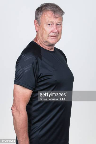 Age Hareide of Denmark poses during official FIFA World Cup 2018 portrait session on June 12 2018 in Anapa Russia