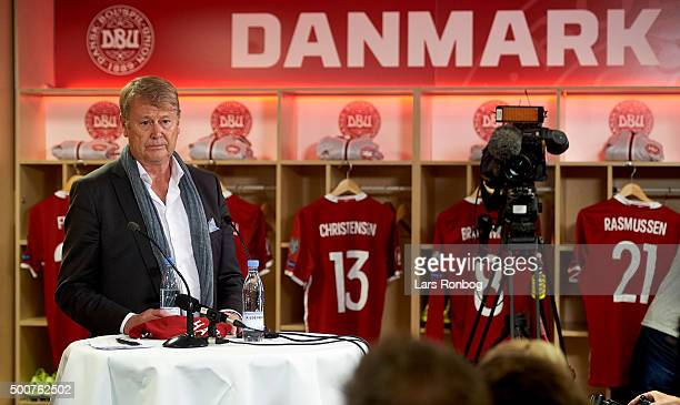 Age Hareide speaks to the media during the Danish FA Press Conference at Telia Parken Stadium on December 10 2015 in Copenhagen Denmark