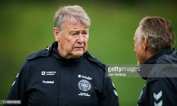 Age Hareide team coach talking to Lars Hogh goalkeeper coach during the Denmark training session at Brondby Stadion on May 30 2019 in Brondby Denmark