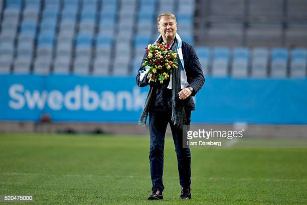 Age Harried Danish coach is here during the Allsvenskan match between Malmo FF v GIF Sundsvall at Swedbank Stadion on April 11 2016 in Malmo Sweden