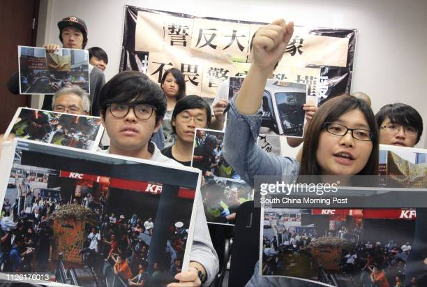 Age of Resistance members Chan Manwai and Cindy Ng Kasin holds a press conference on police making unnecessary using pepper spray against...