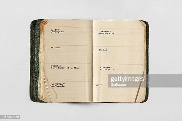 Kalender von 1950 er Jahren zeigt eine Woche