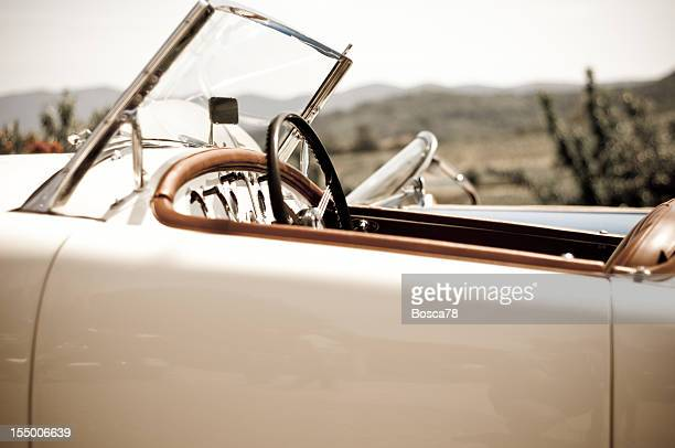 Aged effect photo of a vintage sport car
