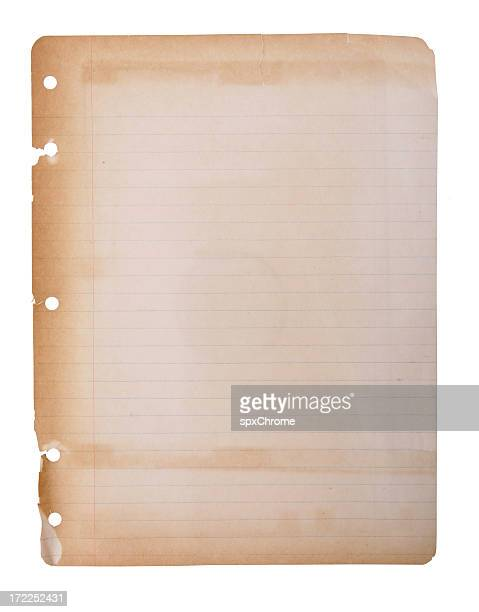 aged faded notebook paper - old parchment background burnt stock photos and pictures