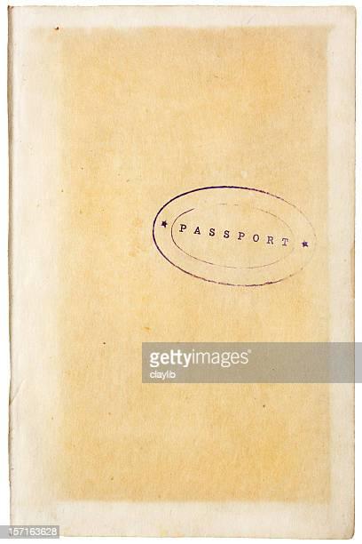 aged paper with retro passport stamp