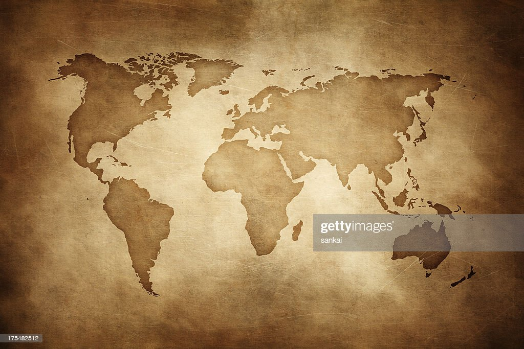 Aged style world map, paper texture background : Stock Photo