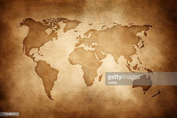 aged style world map, paper texture background - world map stock photos and pictures