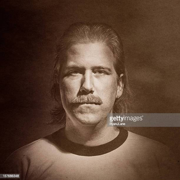 aged vintage mustache portrait - mullet stock photos and pictures
