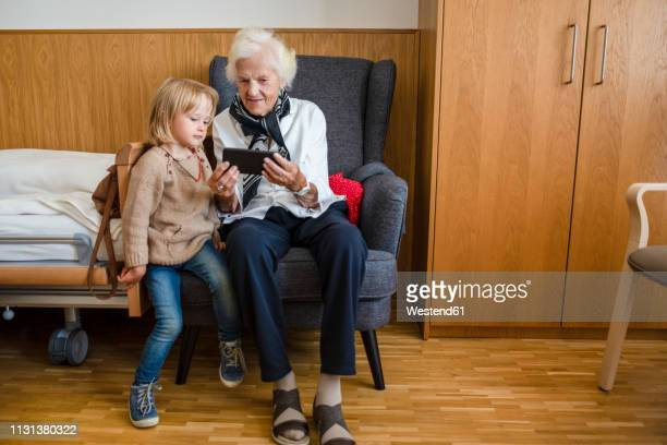 aged woman watching together with her great-granddaughter photos on smartphone - great granddaughter stock photos and pictures