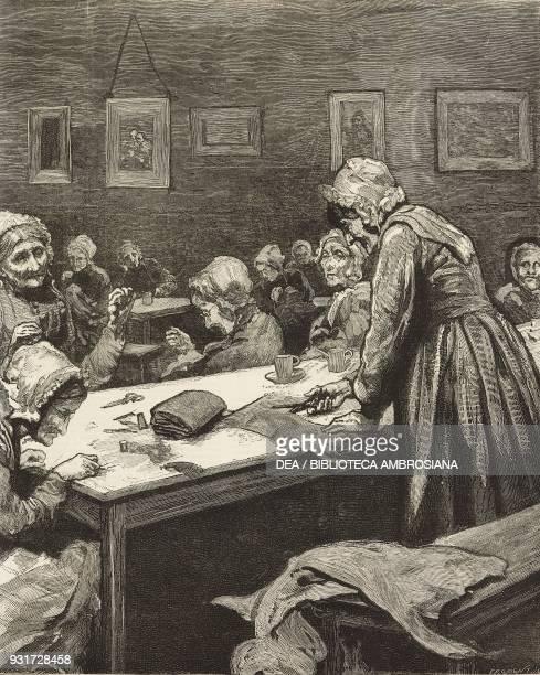 Aged women engaged in tailoring Westminster Union Workhouse London United Kingdom drawing by Hubert von Herkomer illustration from the magazine The...
