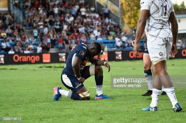 Agen' Yoan Tanga reacts at the end of the French Top 14 rugby union match between SU Agen and Union Bordeaux Begles on September 15 2018 at the...