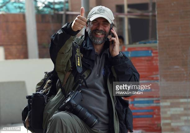 Agence FrancePresse Chief Photographer South Asia Roberto Schmidt gestures on his return from Everest base camp in Kathmandu on April 29 2015...