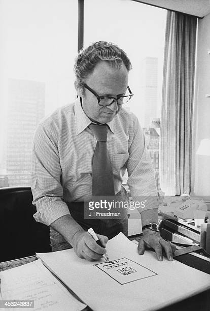 Agency Art Director Jos Schindelman at his desk in the office of the 'Scali McCabe Sloves' advertising agency Madison Avenue New York City 1976