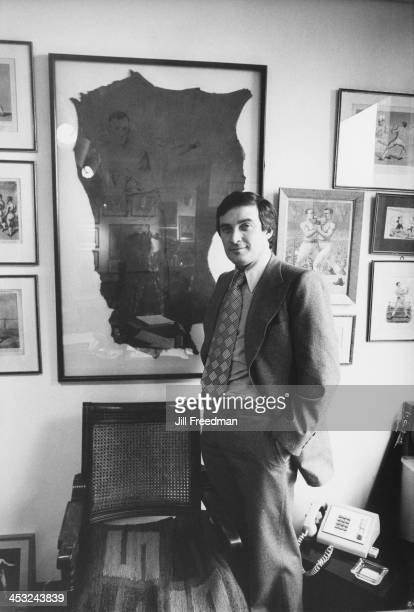 Agency founder Marvin Sloves stands in front of an etched portrait of his father inside the offices of the 'Scali McCabe Sloves' advertising agency...