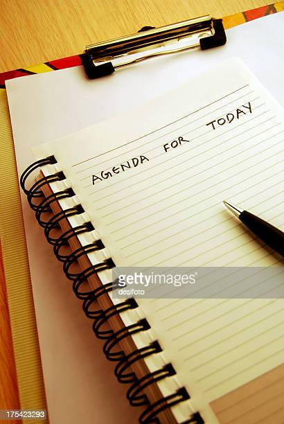 'Agenda for today' written on a spiral pad