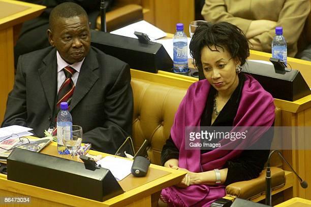 "AGeneral Secretary of the South African Communist Party Dr Bonginkosi Emmanuel ""Blade"" Nzimande and MP Lindiwe Nonceba Sisulu look on as Jacob Zuma..."