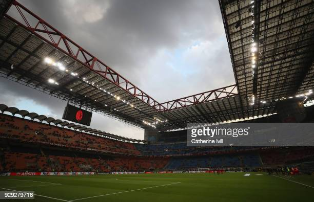 Ageneral view inside the stadium before the UEFA Europa League Round of 16 match between AC Milan and Arsenal at the San Siro on March 8 2018 in...