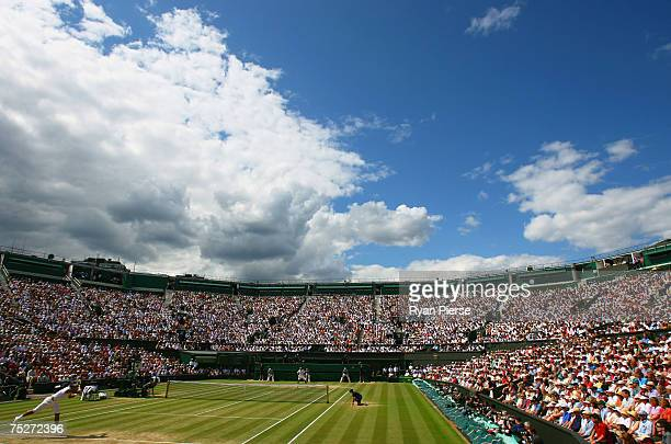Ageneral view of Centre Court during the Men's Singles final match between Roger Federer of Switzerland and Rafael Nadal of Spain during day thirteen...