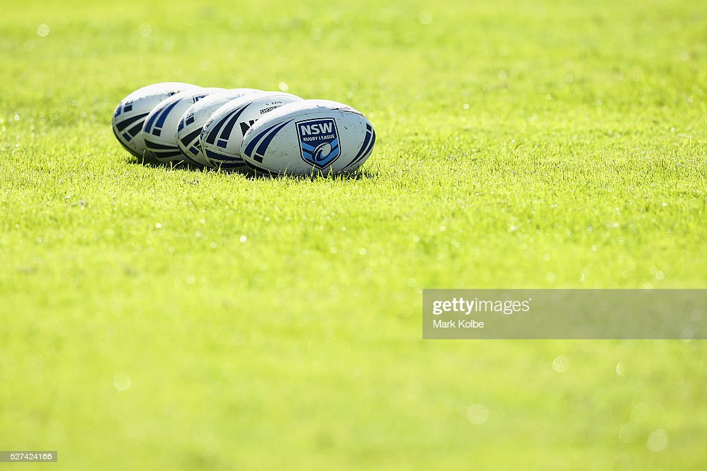 Ageneral view of training balls are seen during a City NSW Origin training session at Leichhardt Oval on May 3, 2016 in Sydney, Australia.
