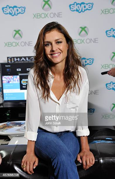 """Agent 47"""" actress Hannah Ware takes a break from Comic-Con to Skype with fans in the Microsoft VIP Lounge on July 25, 2014 in San Diego, California."""