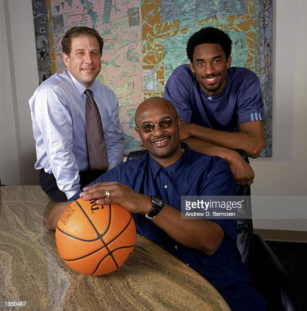 "Agent Arn Tellem poses for a portrait with client guard Kobe Bryant of the Los Angeles Lakers and Bryant's father, former NBA player Joe ""Jellybean""..."