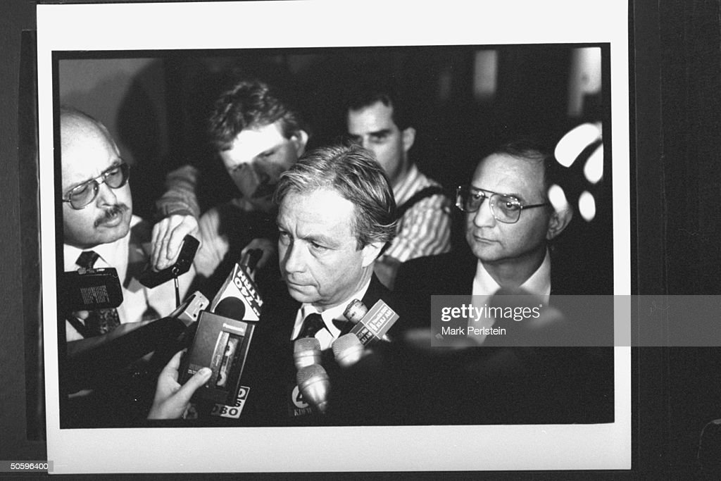 FBI agent Bob Ricks (C) talking to reporters at news conf. re the fast moving fire that burned the Branch Davidian compound to the ground, killing as many as 86 people-nearly a third of them children, ending the 51-day siege of the David Koresh-led cult.t