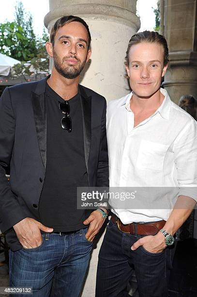 CAA agent Cade Hudson and interior decorator Ross Cassidy attend AG Jeans and Vanity Fair Dinner Party hosted by Eric Buterbaugh at Chateau Marmont...