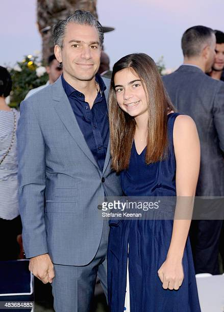 Agent Christian Carino and daughter attend the Zooey Deschanel for Tommy Hilfiger Collection launch event at The London Hotel on April 9 2014 in West...