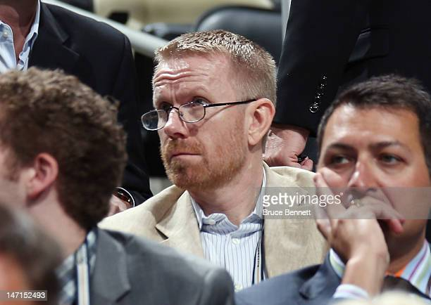 CAA agent Claes Elefalk watches the draft board during day two of the 2012 NHL Entry Draft at Consol Energy Center on June 23 2012 in Pittsburgh...
