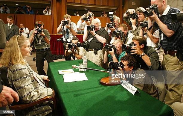 Agent Coleen Rowley is photographed by the news media before testifying before the Senate Judiciary Committee on Capitol Hill on June 6 2002 in...