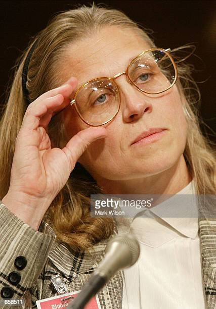Agent Coleen Rowley testifies before the Senate Judiciary Committee on Capitol Hill on June 6 2002 in Washington DC The committee is taking testimony...