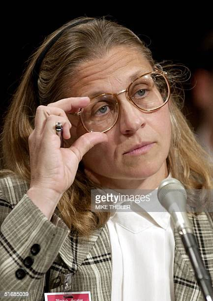 FBI agent Colleen Rowley listens to questions from the US Senate Judiciary Committee 06 June 2002 on Capitol Hill in Washington DC during a hearing...
