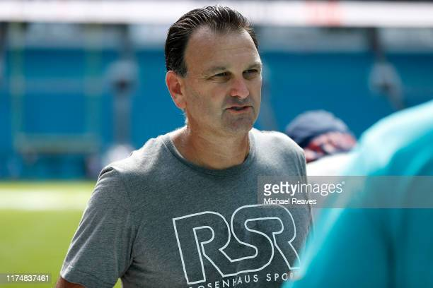 Agent Drew Rosenhaus looks on prior to the game between the New England Patriots and the Miami Dolphins at Hard Rock Stadium on September 15, 2019 in...