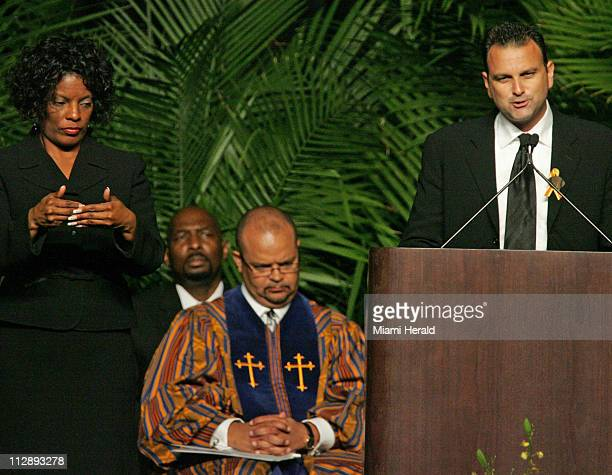 NFL agent Drew Rosenhaus right speaks at the funeral service for Sean Taylor at the Pharmed Arena in the campus of Florida International University...