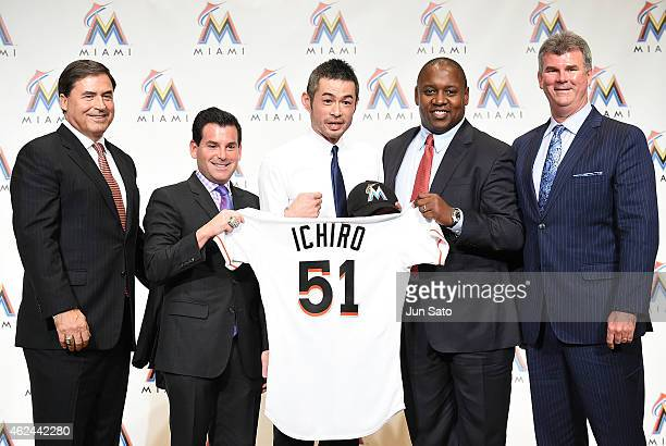 Agent John Boggs Miami Marlins president David Samson Ichiro Suzuki President of Baseball Operations Michael Hill and general manager Daniel Jennings...