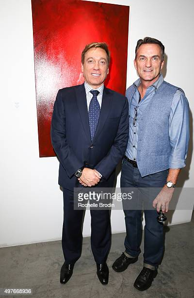 Agent Kevin Huvane and publicist Stephen Huvane attend Steve Janssen's Brain Change abstract art exhibition at De Re Gallery on November 17 2015 in...