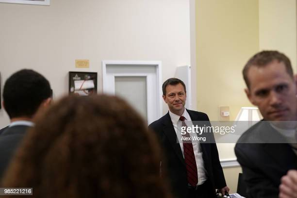 Agent Peter Strzok arrives at a closed door interview before the House Judiciary Committee June 27, 2018 on Capitol Hill in Washington, DC. Strzok, a...