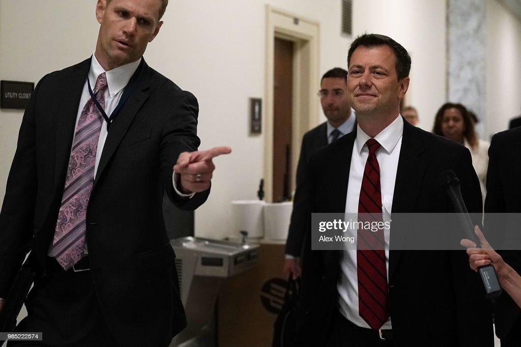 FBI Agent Peter Strzok Testifies Before House Hearing On Mueller Investigation : News Photo