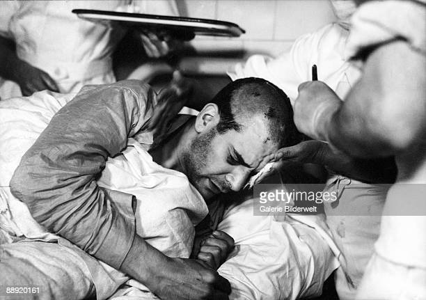 NKVD agent Ramon Mercader in hospital in Mexico City after his arrest for the attempted assassination of Russian revolutionary Leon Trotsky with an...