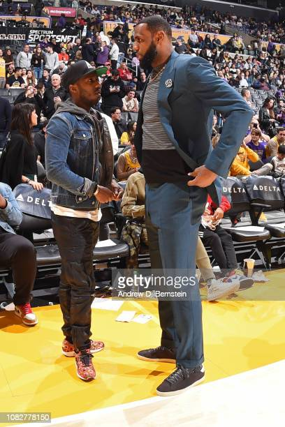 Agent Rich Paul and LeBron James of the Los Angeles Lakers talk before the game against the Cleveland Cavaliers on January 13 2019 at STAPLES Center...