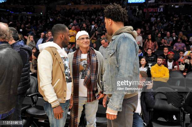 Agent Rich Paul Jimmy Iovine and Maverick Carter attend a basketball game between the Los Angeles Lakers and the Houston Rockets at Staples Center on...