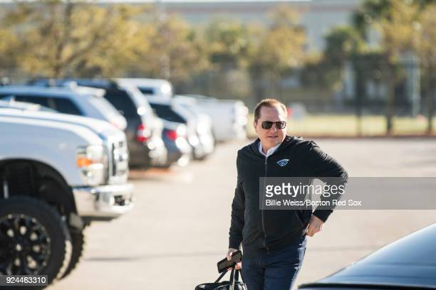 Agent Scott Boras arrives with J.D. Martinez of the Boston Red Sox arrives before a press conference announcing his signing on February 26, 2018 at...