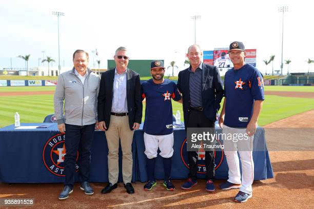 Agent Scott Boras Astros General Manager Jeff Luhnow Jose Altuve Astros Owner Jim Crane and manager AJ Hinch pose for a photo during a press...