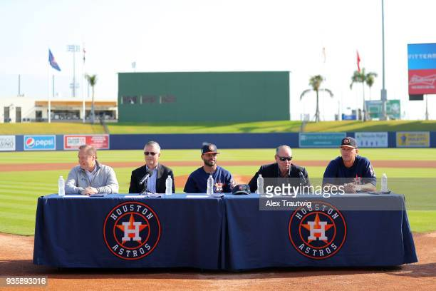 Agent Scott Boras Astros General Manager Jeff Luhnow Jose Altuve Astros Owner Jim Crane and manager AJ Hinch look on during a press conference...