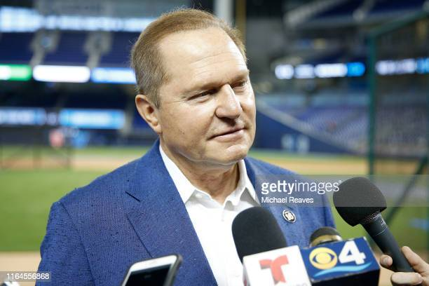 Agent Scott Boras prior to the game between the Miami Marlins and the New York Mets at Marlins Park on July 12, 2019 in Miami, Florida.