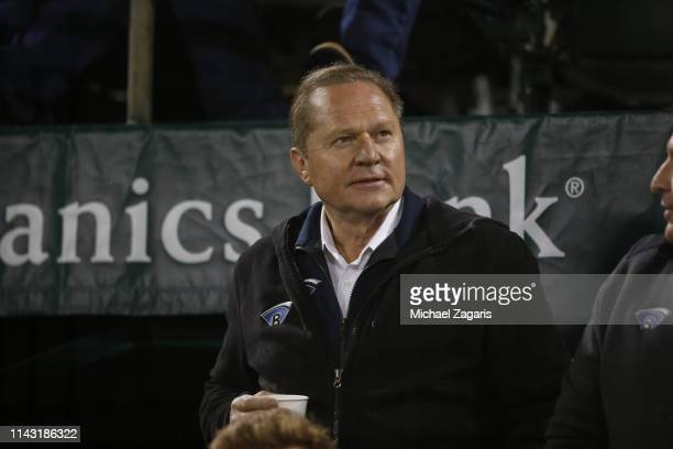 Agent Scott Boras sits in the stands during the game between the Oakland Athletics and the Boston Red Sox at the Oakland-Alameda County Coliseum on...