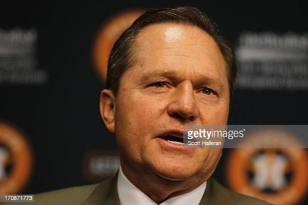 Agent Scott Boras speaks with the media after the Houston Astros signed first overall draft pick Mark Appel to the team prior to the start of the...