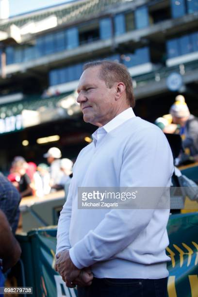 Agent Scott Boras stands on the field prior to the game between the Washington Nationals and the Oakland Athletics at the Oakland Alameda Coliseum on...